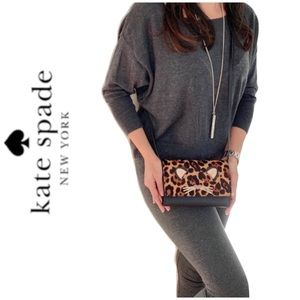 NWT Kate Spade run wild leopard leather crossbody